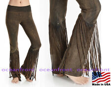 NEW T-Party Foldover Waist BROWN STUDDED Fringe Leg Cowgirl Yoga Pants S M L