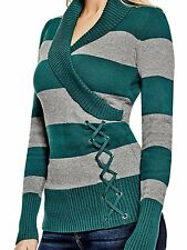 Guess Womens Shawl Collar w- Lace Up Detail Sweater Jumper Top S or M Green NWT