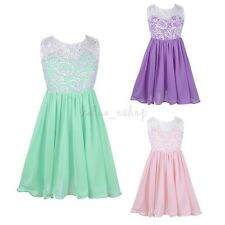 Baby Kids Girls Sleeveless Lace Splice Wedding Bridesmaids Princess Party Dress