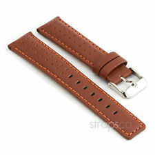 StrapsCo Rally Racing Perforated Leather Watch Band Strap in Brown