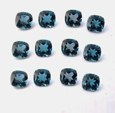 4mm To 8mm Natural London Blue Topaz Cushion Cut Calibrated Size Loose Gemstone