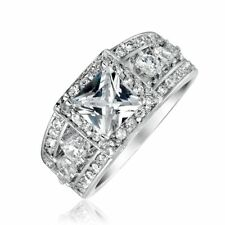 Bling Jewelry Princess Cut Sterling Silver CZ Engagement Ring Rhodium Plated