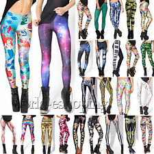 Womens 3D Printed Skinny Stretch Leggings Jegging High Waist Long Pants Trousers
