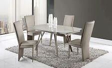 Champagne Dining Set | Taupe (Dining Table & Side Taupe Leatherette Chairs)