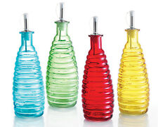 Oil / Vinegar / Sauce Glass Bottle - Blue Red Green Yellow - 275ml with pourer