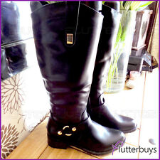 Womans Boots Fluffy faux Fur Lined Faux soft Leather Riding Ladies Size New