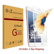 D&Z 2PK Full Coverage Premium Tempered Glass Screen Protector Film for iPhone 7