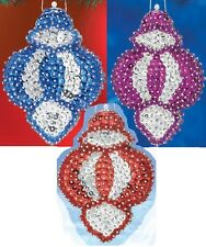 """""""Jewel"""" kit makes 3 Ornaments Bead & Sequin Christmas Blue, Red, OR Purple  NEW"""