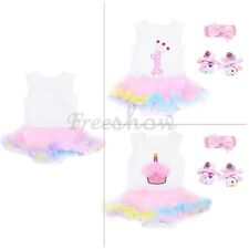 3Pc Infant Newborn Baby Girl Tutu Dress  First Birthday Romper Jumpsuit Outfits