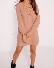 MISSGUIDED scallop front lace up shift dress nude (M27/30)