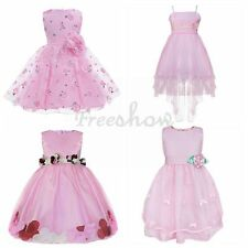 Pink Flower Girls Princess Gown Kids Baby Party Pageant Tutu Weddig Dresses