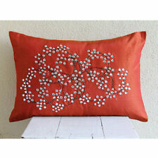 Crystals 30x45 cm Art Silk Rust Lumbar Cushion Cover - Rusty Crystal Circles