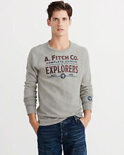 Abercrombie & Fitch T-Shirt Mens Graphic Long Sleeve Tee Shirt L or XL Grey NWT