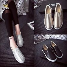 Womens Glitter Slip On Shoes Fashion Flat Loafer Loafers Sneakers Sequins Size