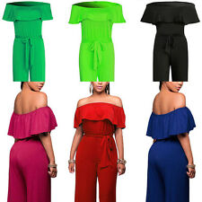 Women's Jumpsuit Pants Word Collar Lotus Leaf High Waist Wide Leg Dress Playsuit