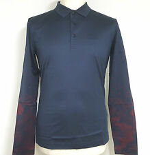 Hugo Boss Polo Long Sleeve Shirt Cotton S Men Red Size Mens Nwt Label Fit Stripe