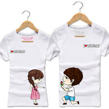New Summer Couple Matching Couple Tee Tops Fashion Cotton Short Sleeve T-shirts
