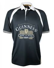 Guinness Black Made of More Embroidered Rugby Jersey Mens Irish Ireland Polo NEW