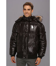 US POLO ASSN. Mens Puffer Jacket Coat Hood Fur Trim Quilted Winter XL Black NWT