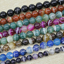 Enhanced Mixed Color Natural Agate Stripe Design Round Beads 6 8 10 12 14mm