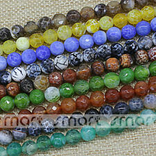 Enhanced Mixed Color Natural Agate Faceted Round Loose Beads 6 8 10 12mm