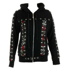 Banned Gothic Hooded Jacket Roses Rockabilly Corset Top Pixie Skull Black Hoodie