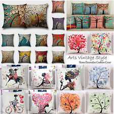 Painting Flowers Trees Retro Cushion Covers Decor Home Square Pillow Case Arts