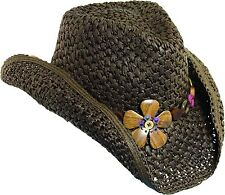 New Dorfman Pacific Women's Crocheted Toyo Western Cowgirl Hat with Flower
