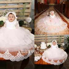 Long Sleeve Toddler Baby Christening Gown Long Baptism Dress Infant+Bonnet 0-24M