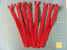 """Zippers - Heavy Weight - 14"""" Separating - Plastic - Red"""