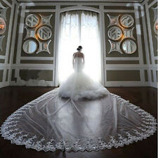 White Ivory 1 Layer Long Bridal Veil Cathedral Lace Purfles Wedding Veils + Comb