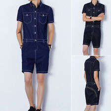 Men Casual Jumpsuits Short Sleeve Denim Blue Short Pant Rompers Fashion Straight