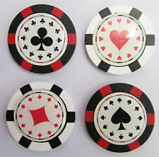 "Poker/Roulette Chip Golf Ball Marker Diamonds/Hearts/Spades/Clubs ""NEW"""
