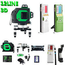 3D Green Automatic Self Leveling 12 Line 360 Rotary Cross Laser w/ Receiver GD
