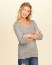 Abercrombie & Fitch – Hollister Womens Sweater Pullover V Neck Icon S Grey NWT
