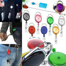 LOT 5-50Pcs Colourful Oval Retractable ID Reel Chain Badge Holder Key Tag Clip