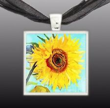 """Sunflower Van Gogh Art Painting 1"""" Pendant Necklace in Silver Tone"""