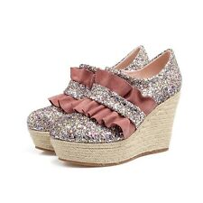 Shiny Glitter Platforms Weave Wedges Sandals Round Toe Lolita Womens Cute Shoes