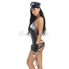 4Pcs Sexy Policewoman Leather Uniform Costume Nighty Police Cosplay Lingerie