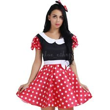 Adult Women Polka Dot Minnie Mouse Costume Outfit G-string Mini Dress Lingerie