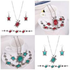 Turquoise Silver Engraved Turtle Baroque Earring Necklace Bracelet Jewelry Set