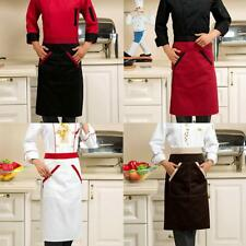 MENS WOMENS WAIST APRON WITH TWO POCKETS RESTAURANT BISTRO BAR APRONS