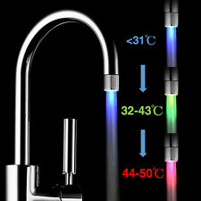 Glow LED Faucet Temperature Sensor Light RGB 3 Color Shower Kitchen Water Tap