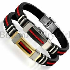 """9MM Mens Black Silicone Red Leather Braided Stainless Steel Bracelet 8.46"""" Gift"""