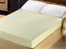 """1000TC Egyptian Cotton UpTo 30""""Deep Pocket Fitted Sheet All Size Ivory Stripe"""