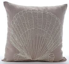 Beaded Oyster 55x55 cm Cotton Linen Mocha Cushions Cover - Scallop Shell