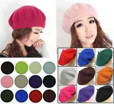 French Style Vintage Warm Plain Beret Beanie Hat made of 100%  Wool