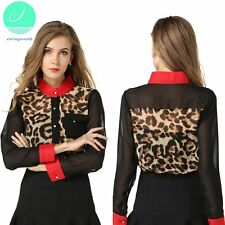Ladies Sexy Leopard Shirt Collar Stitching Full Chiffon Hit Color Work Casual
