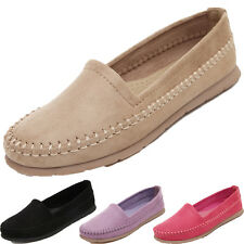 Women Suede Ballet Flat Driving Moccasins Slip On Loafer Peas Walking Shoes Size
