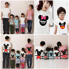 Mickey Minnie Mom Dad Kids Family Birthday Matching T-Shirts Tops Casual Clothes